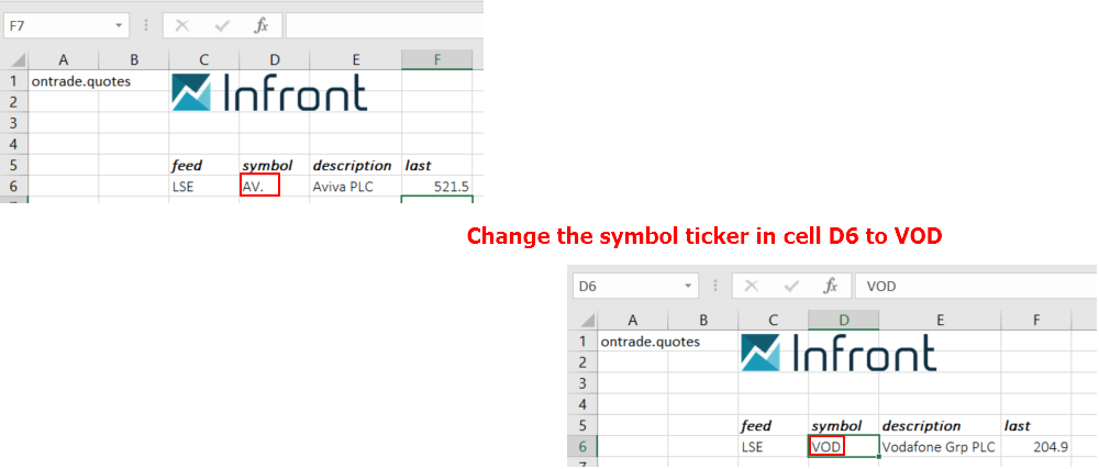 change symbol ticker Excel